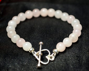 Girl's rose quartz crystal bracelet with delicate heart clasp - suit 5 to 7 year old