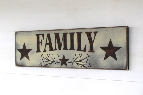 "Wooden ""FAMILY"" sign with Stars, White and Brown, Distressed, Rustic, Country, Primitive, Vintage, Farmhouse Antique Décor"