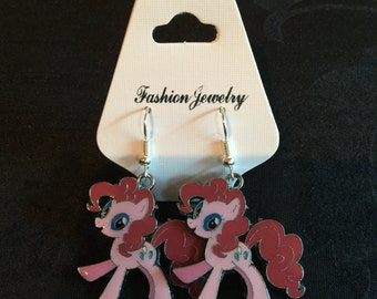 Silver Plated Pink My Little Pony Earrings