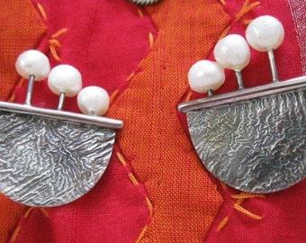 Handmade Pearl & Sterling earrings