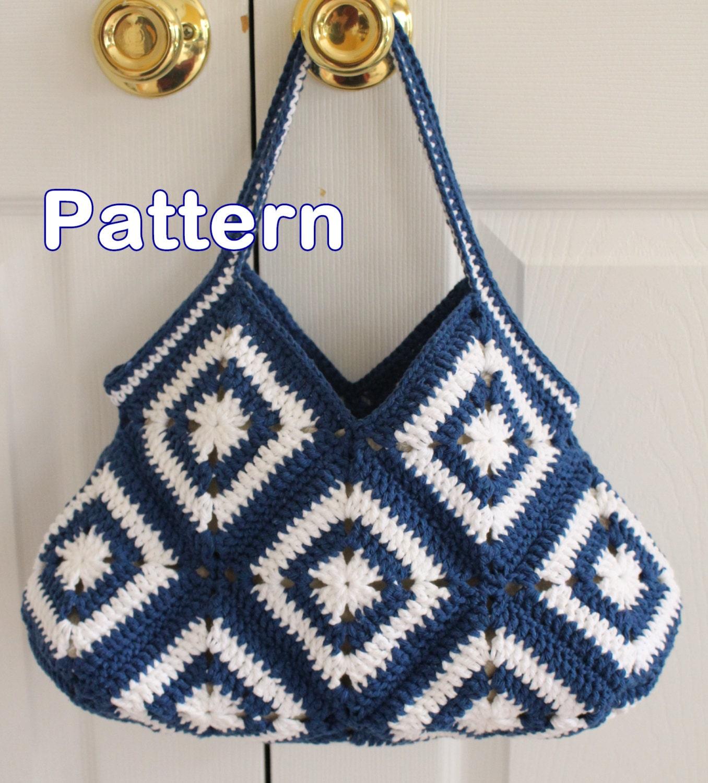 Crochet Granny Square Hobo Purse Bag PDF Pattern