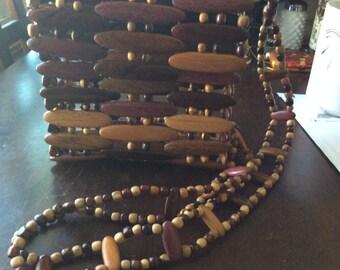 Vintage Carved Wood and Wood Bead Purse