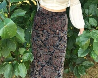Vintage Skirt: Velvet, paisley, maxi skirt, boho, hippie, hipster, festival, patterned, colorful