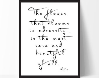 Mulan Art Print, The flower that blooms... Walt Disney, Classroom Wall Art, Classroom Decor, Motivational Quote, Typography Print