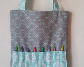 Crayon Tote, Crayon Bag, Art Tote, Girl's Crayon Bag, Girl's Crayon Tote, Girl's Art Bag