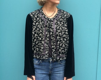 Cute Flowerprint Vintage 90s Velvet Jacket Size S