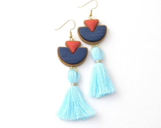 SAILOR DROP EARRINGS// Geometric navy, coral and blue tassel drop earrings//  Statement art deco tassel drop earrings// Gold trim// #DE2025A