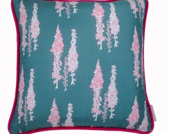 Foxglove Silk and Velvet cushion with pink piping