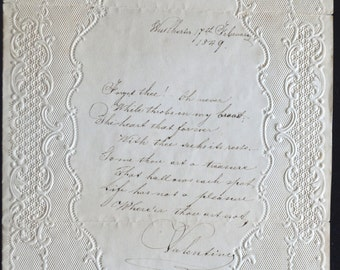 Antique Paper Lace Valentine's Card Hand Written Matching Envelope Embossed Card Pre-Civil War Era 1849 Ephemera Card Rare Greetings