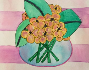 Stripe flowers watercolor