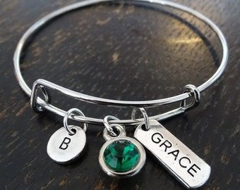 Grace Bangle Bracelet, Adjustable Expandable Bangle Bracelet, Grace Charm, Grace Pendant, Grace Jewelry, Grace Personalized, Amazing Grace