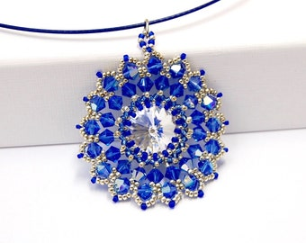 Necklace with pendant Swarovski Crystal Rivoli (14 mm) crystal blue glass Pearl silver necklace handmade