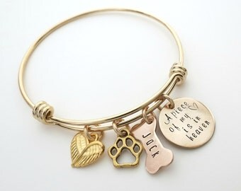 Personalized Bracelet - Dog Bone - Gold Memorial Bracelet - Personalized Bangle - Dog Remembrance Bracelet - Personalized Jewelry - Wing