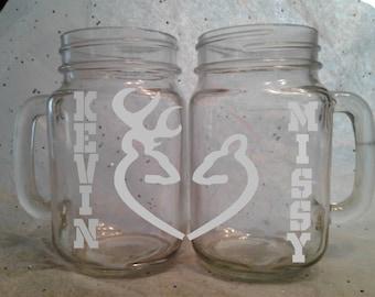 Her buck his doe,  deer, wedding, mason jar glass