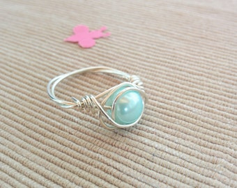 Silver Wire Ring,Wire Bead Ring,Wire Rings,Handmade Ring,Custom Light Blue Ring,Wire Ring,SIlver Swirl Ring,Wire Wrapped Ring,Bohemian Ring