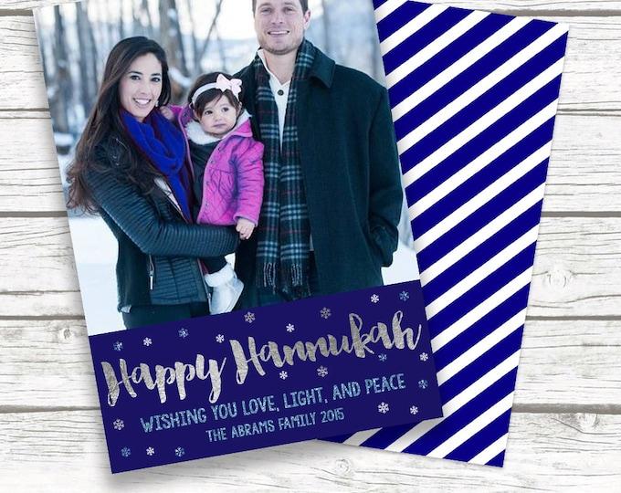 Hanukkah Card, Hanukkah Photo Card, Happy Hanukkah Card, Chanukah Card, Blue and Silver Hanukkah Card, Holiday Card, Jewish Holiday Card
