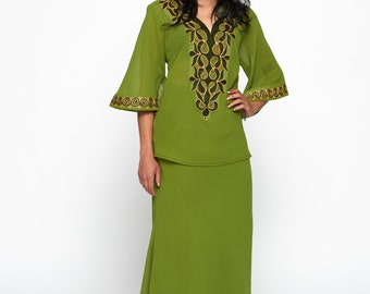 Green Chiffon Embroidered Ankara African Maxi Skirt Set