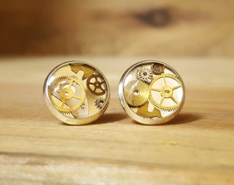 Steampunk Silver-Finish Stud Earrings with Genuine Watch Parts & Gears