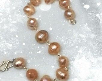 Freshwater pearl sterling silver wire wrap bracelet