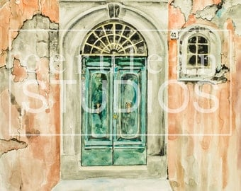 Italian Door, Architecture Fine Art Print, Italy, Various Sizes Available, watercolor print