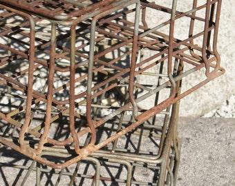Original vintage wire milk bottle basket