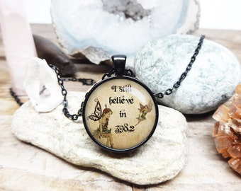 I still believe in 398.2 necklace 398.2 jewelry 3982 pendant fairy tale necklace fairy necklace i love fairies librarian gift for mother