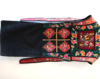 Rare Vintage Chinese Hmong Miao Tribal Hill tribe Baby Carrier Velvet with Embroidery
