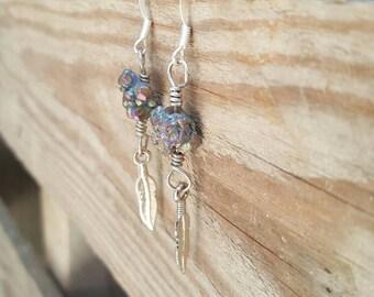 Rainbow druzy feather wire earrings
