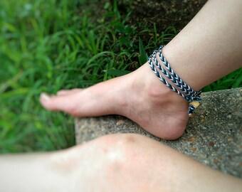 Boho Anklet - Hemp Anklet, Hippie Bracelet, Body Jewelry, Wrap Jewelry, Ankle Bracelet, Boho Wrap Bracelet, Teen Girl Gift, Natural Jewelry