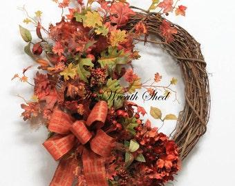 Fall Wreath, Autumn Wreath, Fall Home Decor, Front Door Wreath, Fall Door Wreath, Farmhouse Fall Wreath, Country Door Wreath, Free Shipping