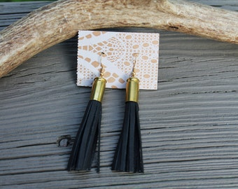 Black Bullet Tassel Earrings // Leather Tassel Earrings // Perfect for Hunting and Fishing Southern Girls  // made in Charleston, SC