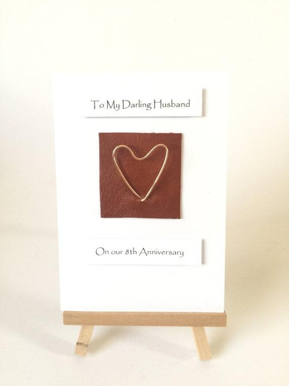 8th Wedding Anniversary Card Bronze Anniversary Leather Bronze