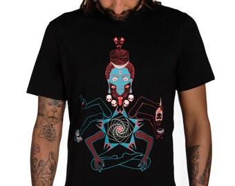Kali Men's T-shirt Shiva Tshirt-occult T-shirt-Spiritual T-shirt-Yantra-Indian Art-Mantra-Yoga clothing-Kali tee-Death Metal-Skulls