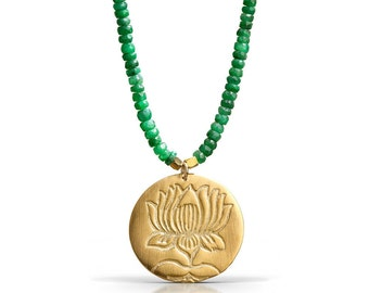 Lotus Emerald Necklace - 18K Gold Vermeil