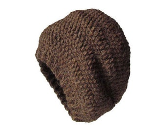 Slouchy Hat Brown Beanie - Crochet Slouchy Beanie Women Brown Beanie Hipster Hat - Brown Slouchy Hat- Alpaca Collection