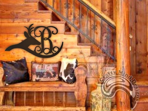 Rustic Monogram Wall Decor : Wedding gift personalized deer rustic wall decor with single