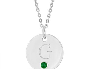 Initial G Disc Pendant With Personalized Birthstone In Sterling Silver