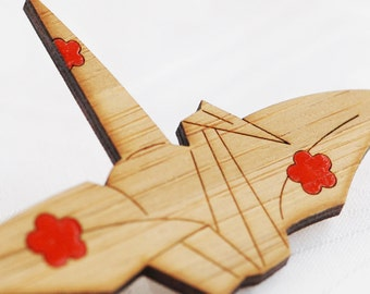 Origami Crane Brooch - Peace Crane - Sustainable Bamboo