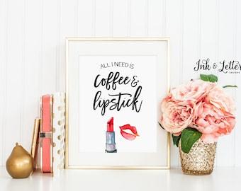 Makeup Art - Coffee and Lipstick Print - Bathroom Decor - Vanity Decor - Makeup Printable - Makeup Lover - Instant Download - 8x10