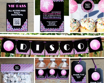 Disco Dance 70s Party - Invitation & Decorations Kit - Printable Birthday Party Package - Instant Download - Editable Text