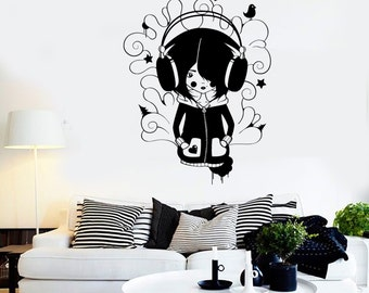 Wall Vinyl Decal Teen Girl Music Headphones Pop Rock Songs 2342di