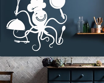 Wall Vinyl Decal Kitchen Decor Funny Octopus Chef with Pots and Pans Restaurant Cafe Decoration (#1043di)