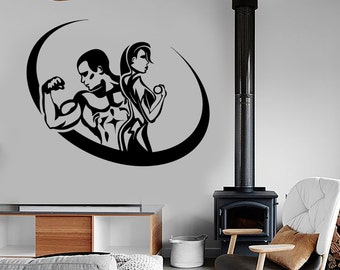 Wall Vinyl Decal Sport Fitness Fit Man and Woman Work Out Routine Bodybuilding Gym Modern Home Decor (#1215dz)