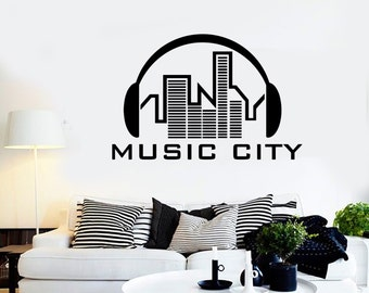 Wall Vinyl Music Headphones City Urban Song Guaranteed Quality Decal Mural Art 1575dz