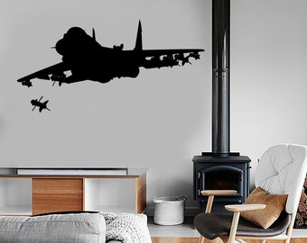 Wall Vinyl Jet Fighter Firing Missile Guaranteed Quality Decal Mural Art 1666dz