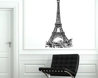 Wall Decal Paris France Eiffel Tower Romantic Travel Vinyl Decal Sticker 1822dz