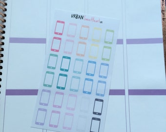 Set of 30 Mobile/Cell Phone Icon Planner Stickers