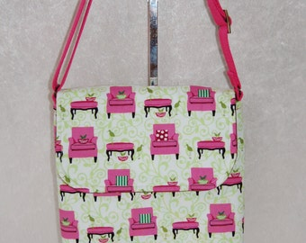 The Jane cross body shoulder bag purse handbag in the Robert Kaufman design Perfectly Perched fabric handmade in England
