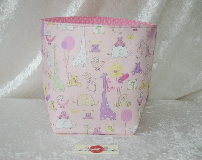 Fabric basket tall reversible organiser bin storage. Handmade in England