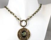 Brass Ox Layered Rose bezel necklace